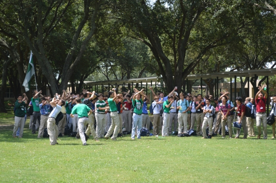 Xavier House yells loud at the Crusader Crew lunch on Kenneally Green to earn House points. Photo: MAGIS