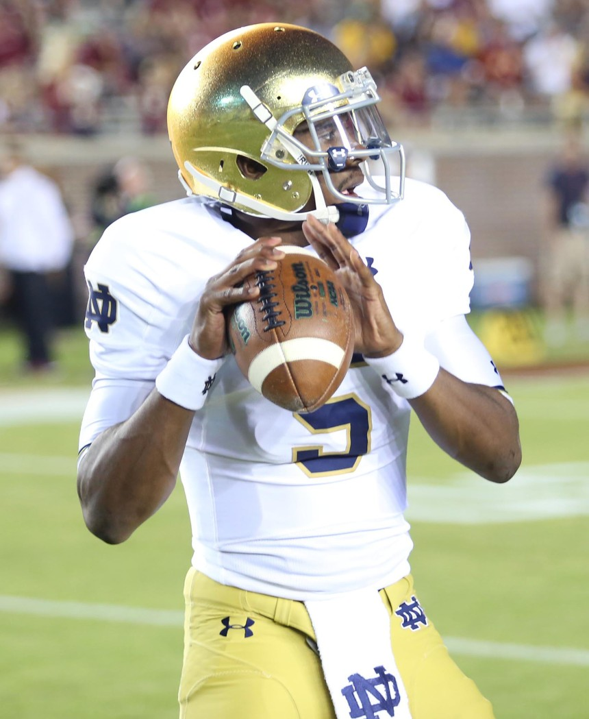 Notre Dame quarterback Everett Golson warms up before the start action against Florida State at Doak Campbell Stadium in Tallahassee, Fla., on Saturday, Oct. 18, 2014. (Stephen M. Dowell/Orlando Sentinel/MCT)