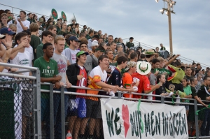 SJ Spirit Club (front row) helps lead the student body in cheers at the Strake Jesuit / Dallas Jesuit varsity game. Photo: MAGIS