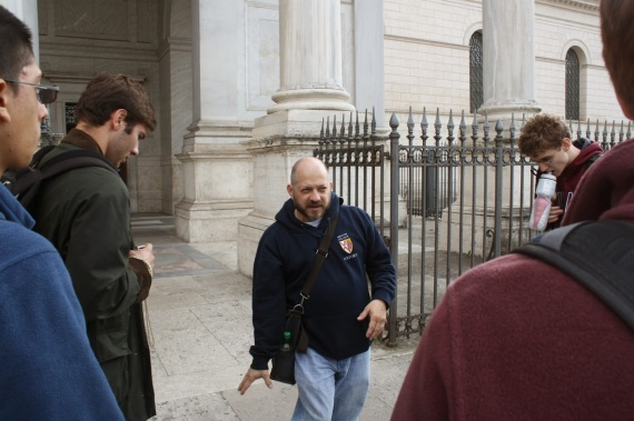 Mr. Tommy Romano explains the architectural elements of the Eternal City. Photo: Brandon Bain